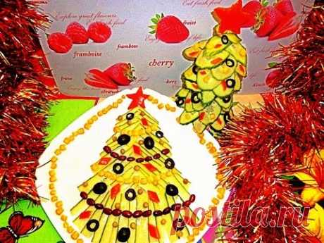 Fir-trees from vegetables. Jewelry from vegetables. As it is beautiful to issue stol.decoration of cucumber
