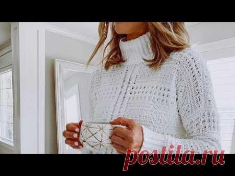 Комбинируем рельефные узоры спицами👚👚👚 в одном пуловере.🥦🥦🥦