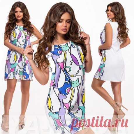 Платье с кошками : красивые летние платье, новая коллекция на сайте. Спешите увидеть. Скидка.