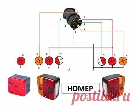 Схема электрооборудования прицепа и способ проверки всех ламп зарядным устройством | AvtoTechLife | Яндекс Дзен