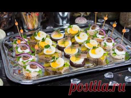 Мини-канапе - анчоусы, сельдь и яйцо - вкусные и красивые закуски для вечеринок
