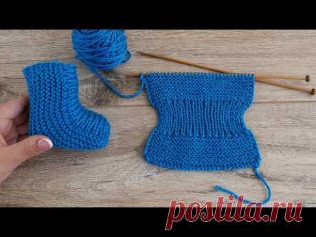 Легкие детские носочки на двух спицах -