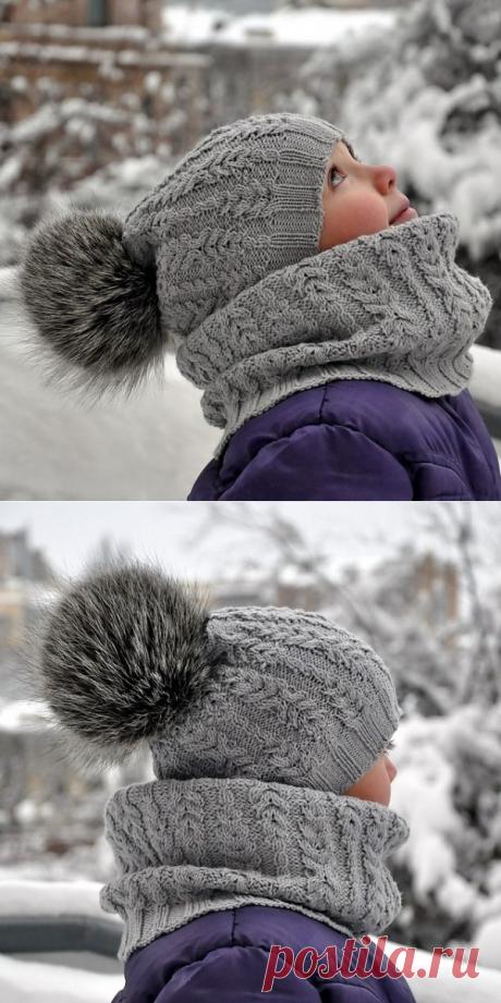 Красивый узор для шапки и снуда