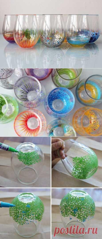 Простейший декор стеклянной посуды | МОЯ КВАРТИРА
