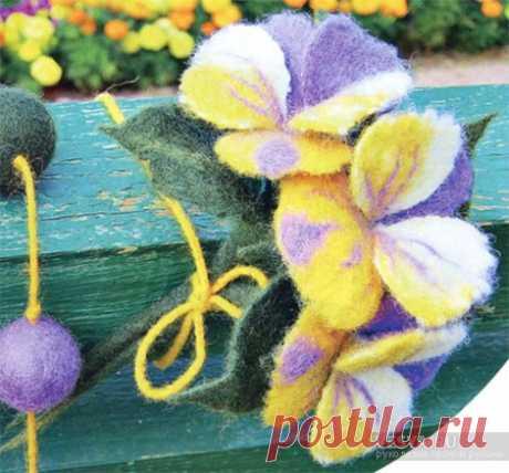 Цветы анютины глазки в технике мокрого валяния из шерсти