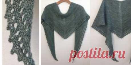 Простая шаль спицами платочной вязкой Вязание спицами простой треугольной шали платочной вязкой. Простая шаль связана спицами платочной вязкой с ажурной каймой.