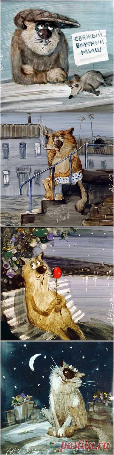 Кошачья жизнь в картинках Анатолия Ярышкина.