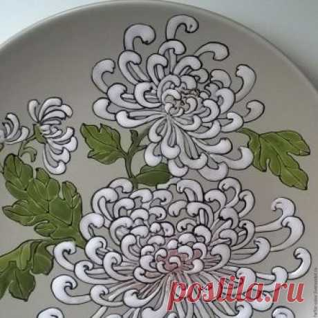 Роспись керамики. Белые Хризантемы – купить в интернет-магазине на Ярмарке Мастеров с доставкой - B6M2PRU | Москва