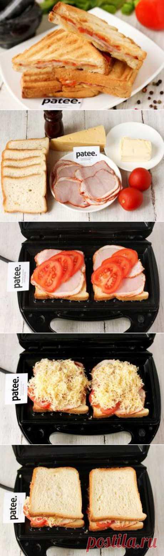 Сэндвичи-гриль с ветчиной и помидорами - рецепт с фотографиями