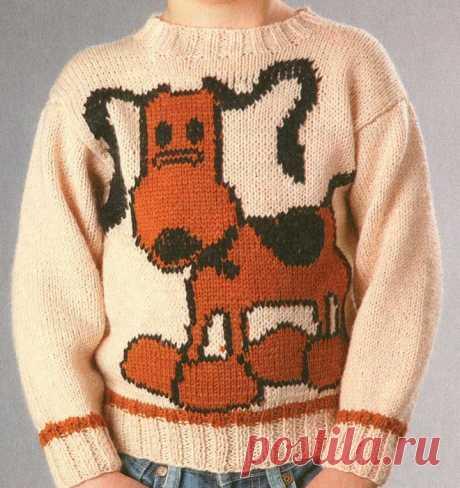 Детский пуловер с собаками.