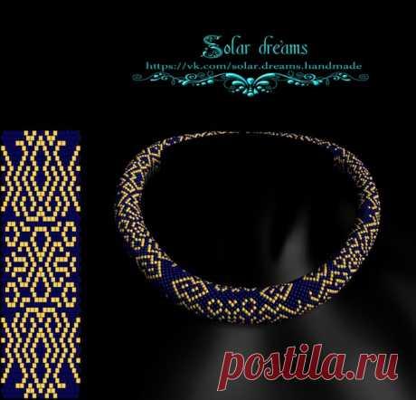 Золотой узор на 18 Длинна 55 рядов, 2 цвета #схемажгута #solardreams #жгутизбисера