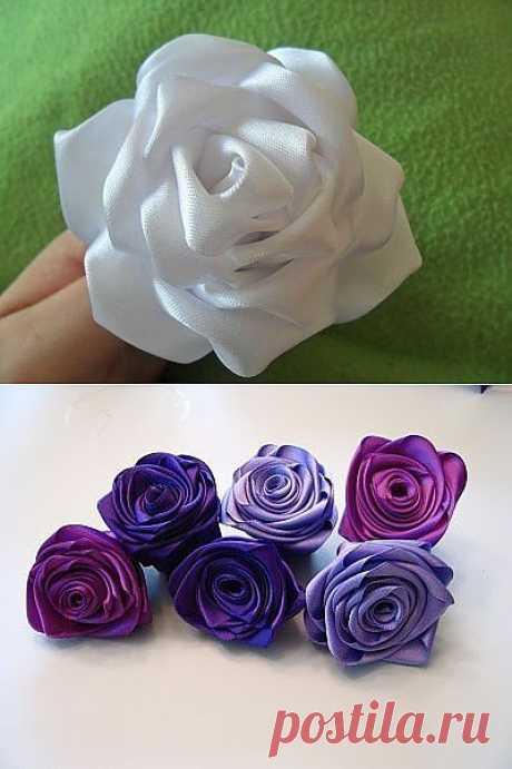 Два способа сделать розы из ленты.