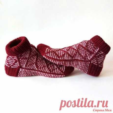 Женские носки ложным жаккардом Ромбы - Вязание - Страна Мам