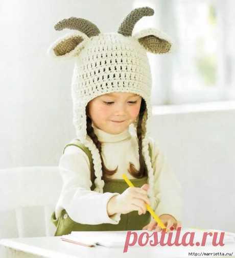 Детские шапочки с рожками и ушками. Вязание крючком - Сам себе мастер - медиаплатформа МирТесен