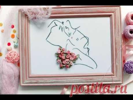 Картина Поцелуй.  Вышивка лентами для начинающих пошагово