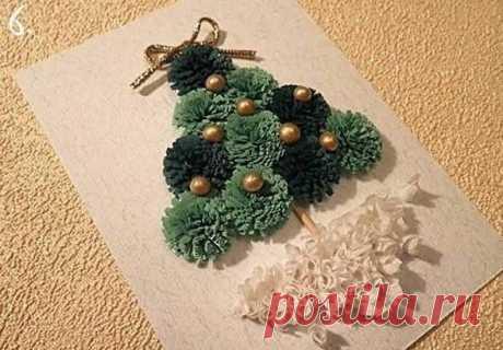 Открытка с ёлочкой к Рождеству