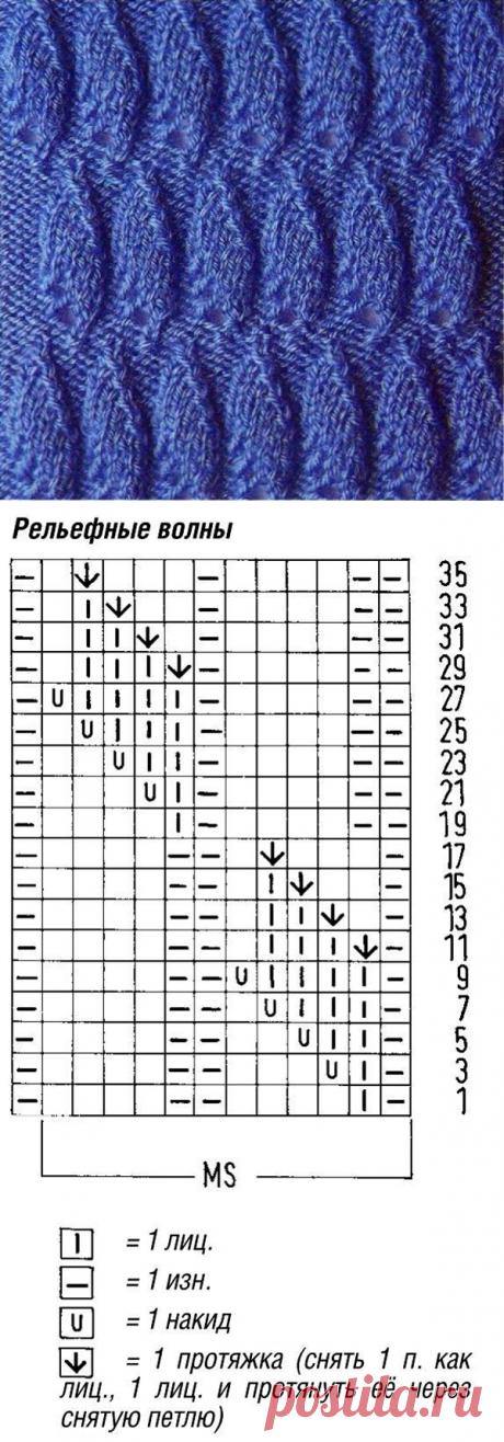 """www.SHPULYA.com - Узор спицами """"Рельефные волны"""" 22"""
