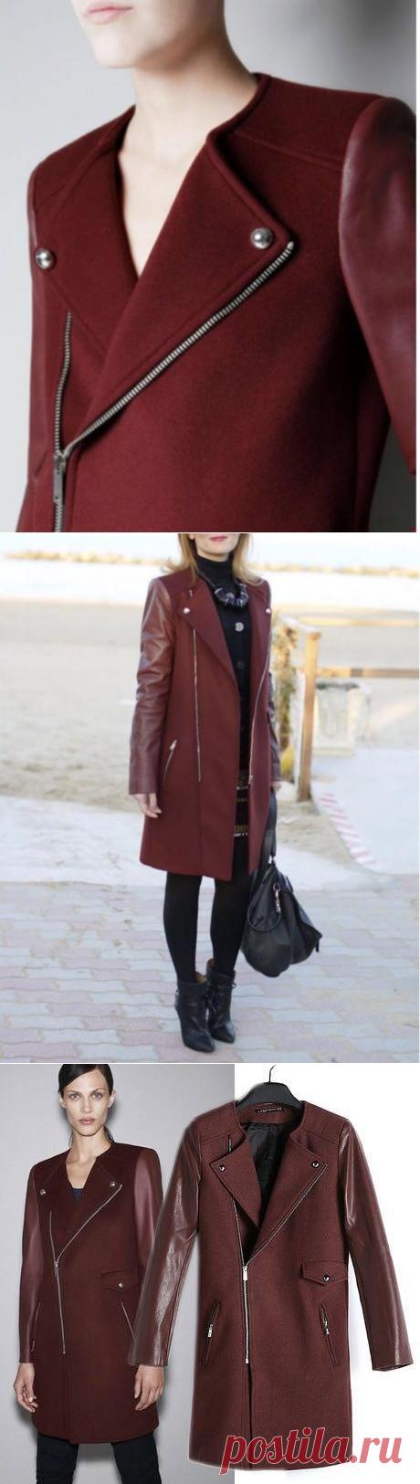 Пальто шерсть Zara с рукавами из нат кожи – купить в Санкт-Петербурге, цена 6400 руб., продано 13.02.2018 - Верхняя одежда