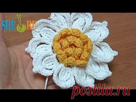 ▶ Вязание цветка с желтой серединкой Урок 31 Как связать цветок крючком - YouTube