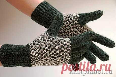 Теплые перчатки с узором Соты.  Мастер-класс по вязанию перчаток спицами.