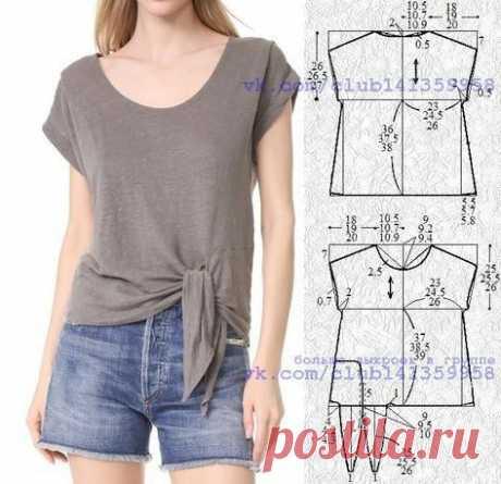 Выкройка футболки с завязкой Модная одежда и дизайн интерьера своими руками