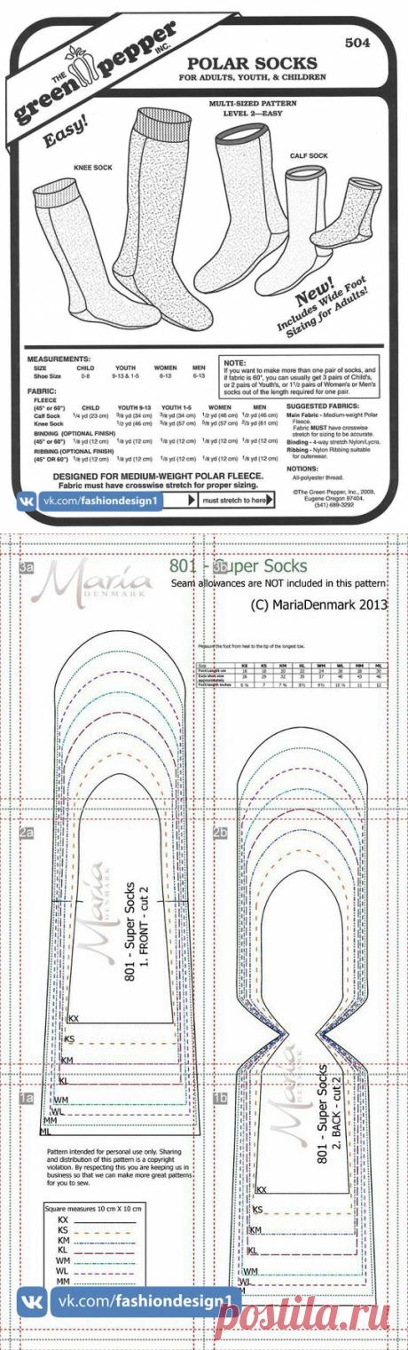 Шьем теплые носки — Сделай сам, идеи для творчества - DIY Ideas