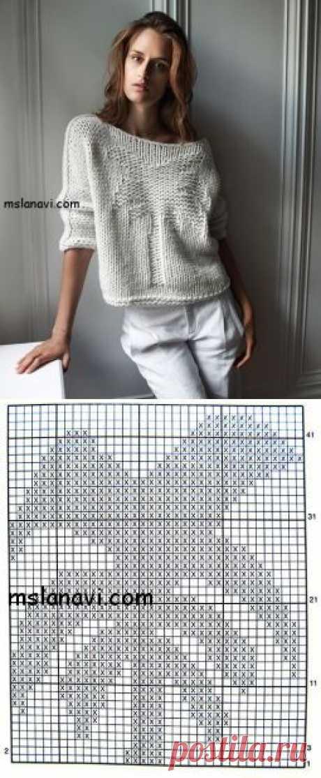 Вязаный пуловер с пальмой | Вяжем с Ланой