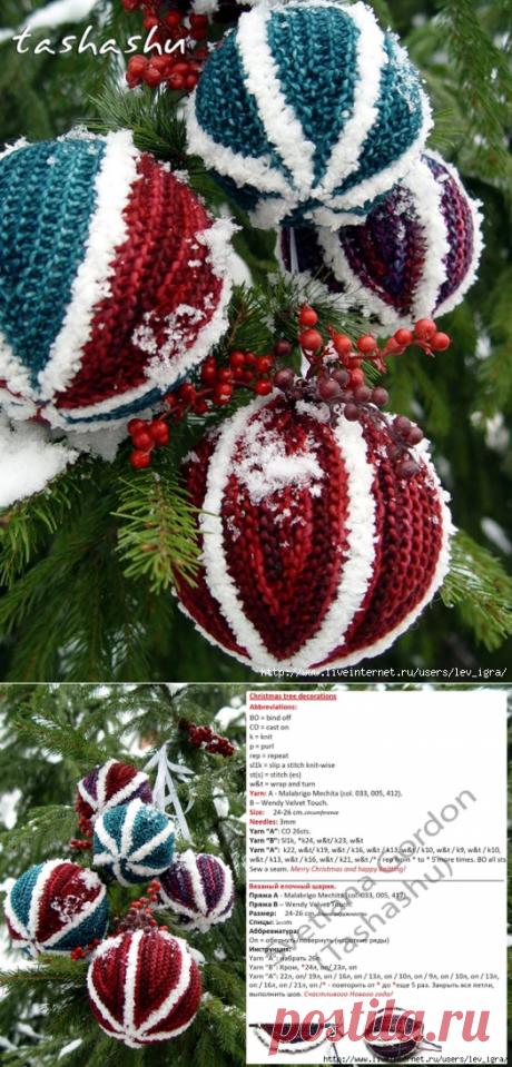 Вязаные спицами шары на елку