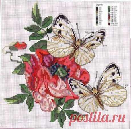 Вышивка крестиком схемы бесплатно: Бабочки ~ Свое рукоделие