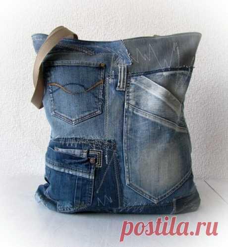 Идеи сумок и клатчей из старых джинсов.