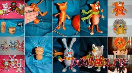 Смотрите какие интересные игрушки можно сделать из пробок и ниток.