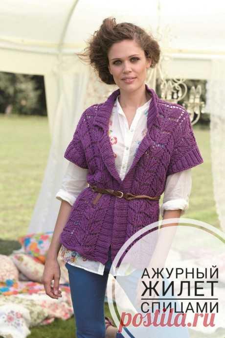 Ажурные жилеты спицами, 19 моделей с описанием и схемами вязания , Вязание для женщин