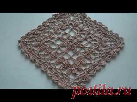 Квадратный мотив крючком.Вяжем просто с Еленой Бас. Crocheted pattern