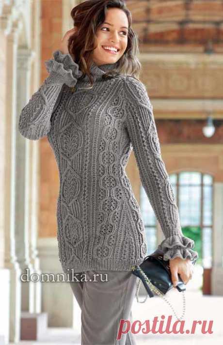 Длинный пуловер реглан с красивыми узорами — HandMade