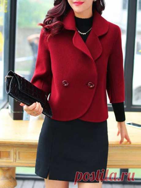 Shop Coats & Jackets - 3/4 Sleeve Casual Folds H-line Polyester Plus Size Jacket online. Discover unique designers fashion at PopJuLia.com.