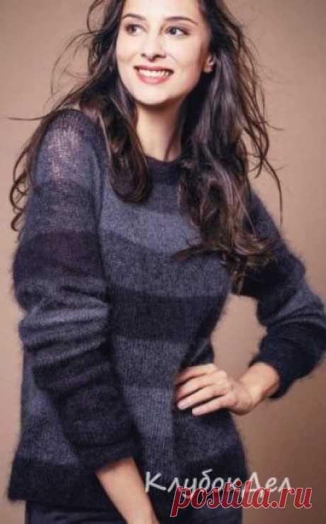 Роскошный пуловер спицами Чтобы этот роскошный пуловер получился именно таким, важно правильно подобрать пряжу.Размер: S/M (L/XL)Вам потребуется: 100 (125) г чёрной (Schwarz 01) и 75 г тёмно-серой (Anthrazit 04) пряжи Lamana Premia (60% мохера, 40% шёлка, 300 м/ 25 г); круговые спицы № 4 и № 4,5; 4 петельных маркера; игла