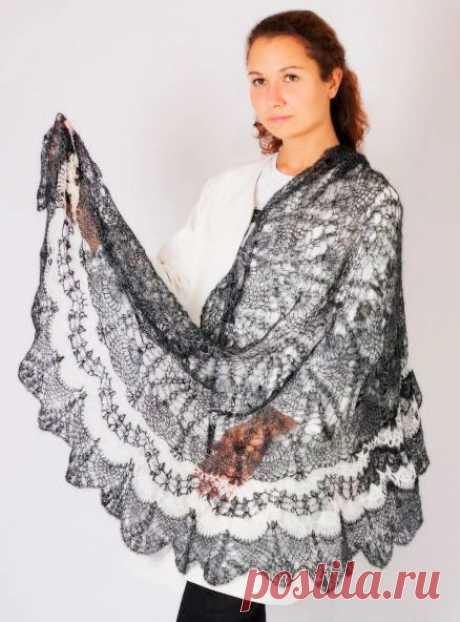 Платок Пуховый платок ручной работы Пелерина, серебристо белая