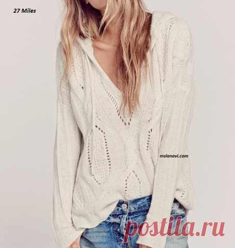 Молодежный пуловер спицами | Вяжем с Лана Ви