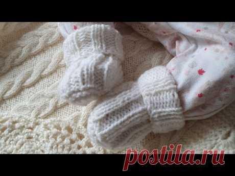 Простые носочки на двух спицах для новорожденных