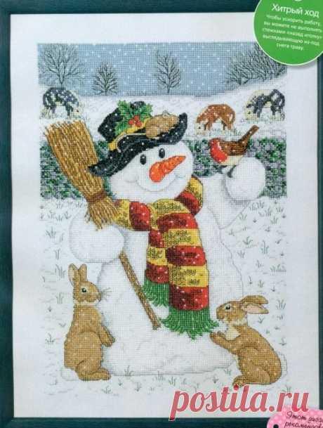 Снеговик вышивка крестом схема. Новогодняя вышивка крестом |