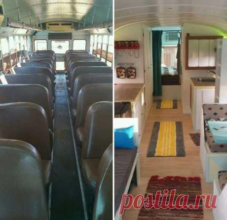 Tēvs ar dēlu pārvērš vecu skolas autobusu par savu sapņu māju uz riteņiem - gangnam.lv