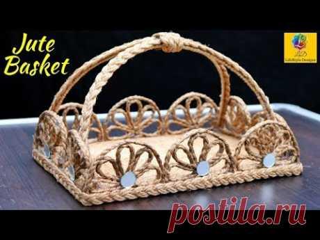 DIY Flower Basket with Jute Rope and Cardboard | Jute Flower Basket | Jute and Cardboard Craft Idea