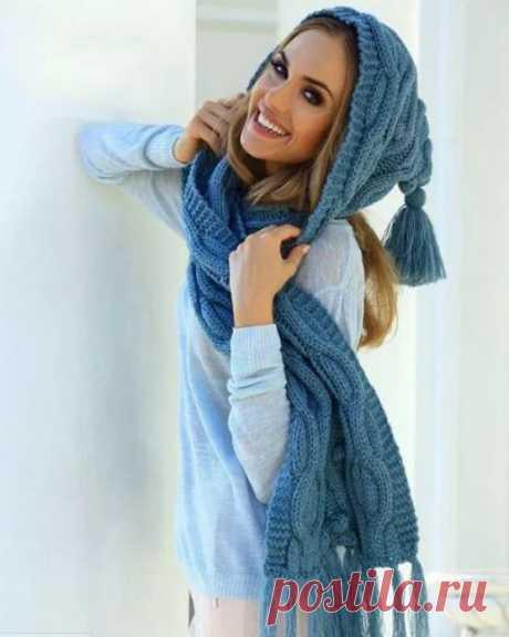 Женский вязаный шарф капюшон спицами на голову схема шарфа капюшона и описания вязания