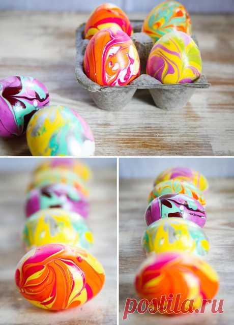 Мраморные красочные яйца на Пасху! (мастер-класс)