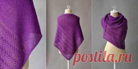 Треугольная шаль платочной вязкой с ажуром Halfway