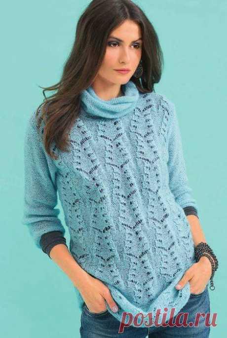 Голубой пуловер с ажурным узором | АЖУР - схемы узоров