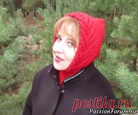 Женский капор узором «Колосок» и лицевой гладью | Вязание для женщин спицами. Схемы вязания спицами