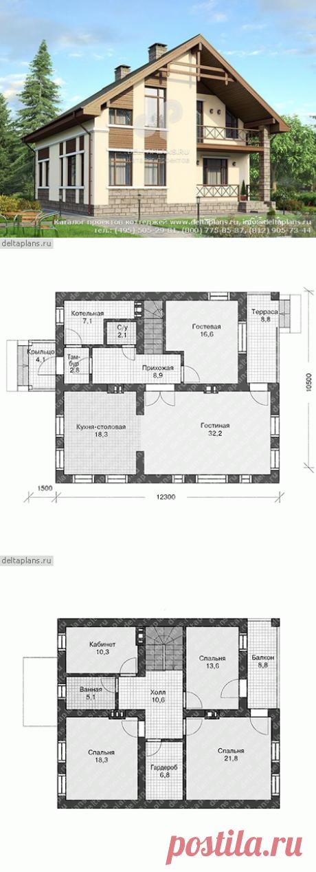 Проект загородного дома из блоков № U-174-1P
