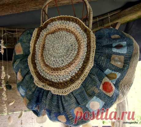 рюкзак индиго белье - Фото ткани сумки восстановления - clothogancho2