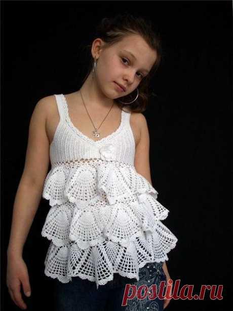 Топ с воланами для девочки (Вязание крючком) | Журнал Вдохновение Рукодельницы